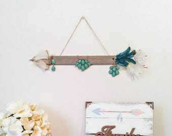 Wood Arrow Wall Decor | Baby Girl Room Home Decor | Turquoise jewelry | Bohemian Nursery Wall Art | Gold and feather arrow