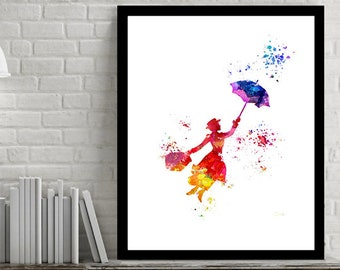 Printable Instant Digital Download - Mary Poppins Silhouette - Printable Art - Poster - Disney