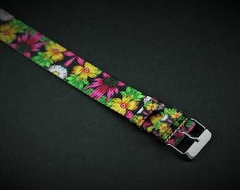 Yellow Floral Slip Thru Nylon Watch strap - 20mm Timex Weekender Seiko