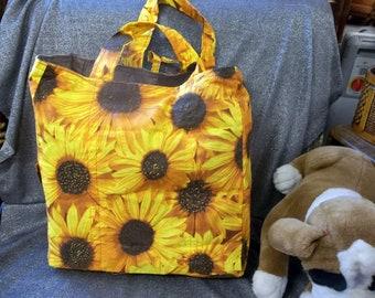 Cotton Shopping Tote Bag, Bright Large Orange Sunflowers Print