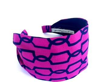 Headbands for women fuchsia adult headband woman  Wide fabric Headband  headband extra wide cotton headband magenta geometric lattice