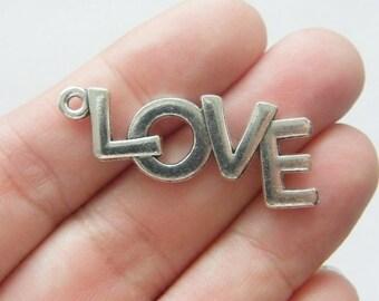 6 Love pendants antique silver tone M930