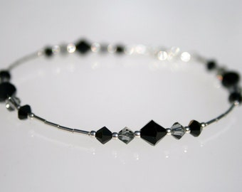 Sterling Silver and Black Grey Swarovski Crystal Bracelet