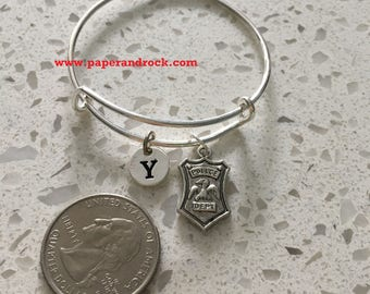 KIDS SIZE - Police badge initial bangle,  police jewelry, police wife jewelry gift, gift for policewoman, police bracelet, law enforcement