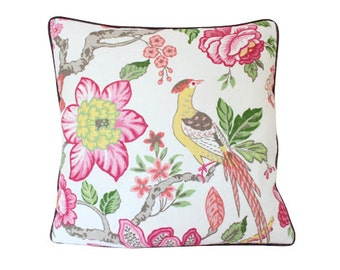 Schumacher Huntington Gardens Pillow Cover in Coral and Pink with Brown Piping