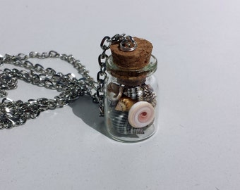 She Sells Sea Shells by the Sea Shore, Miniature Bottle Necklace