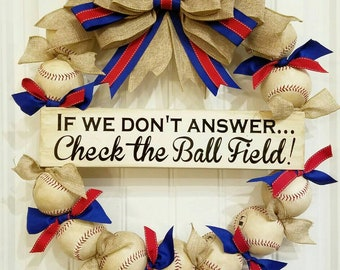 Baseball Wreath with burlap, red, and royal blue bow - Made with REAL baseballs!!! Softball and Baseball decor - Front door wreaths