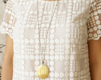 Initial necklace, vintage locket pendant, monogram pendant brass gold locket necklace bridal party wedding locket necklace