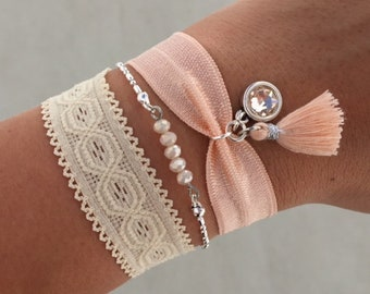 Ibiza bracelet set   free shipping   Aztec   summer   quote   tropical   silver   peach   beige   mothers day