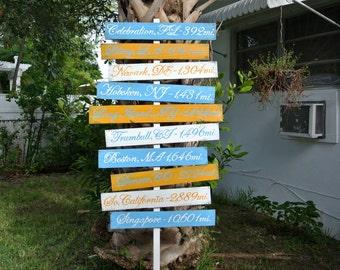 Wood Arrow Location Sign, Unique Custom Family gift, Rustic Beach House Decor, Directional Yard Sign, Garden Decor Sign Post