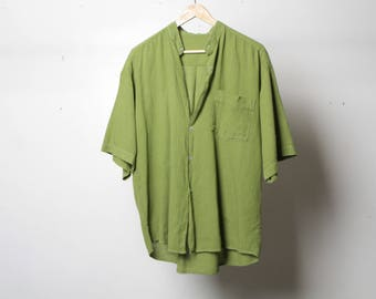 VINTAGE faded linen style NIRVANA 90s mens vintage shirt short sleeve twin peaks button up shirt