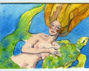 Watercolor painting, mermaid watercolor, mermaid painting, sea turtle and mermaid, 5 x 7 Giclee print,