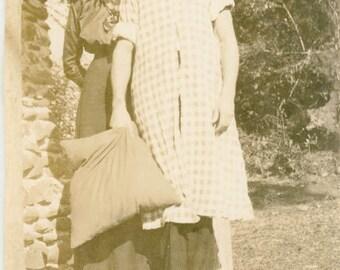 vintage photo 1925 Man Dresses in Woman's APron Pinafore Big Straw Hat Cross Dress crossdress