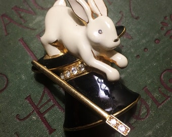 Black And White Vintage Enameled  Magic Hat And Rabbit  Brooch