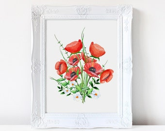 Wall art. Art print. Poppies, Poppy,  Floral. Nursery print. Watercolor flowers,painting, flowers, nature, home decor