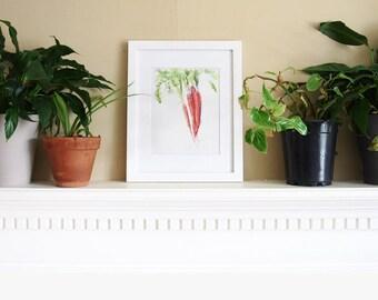 Carrot watercolor art print/ watercolor carrot/ original art print/ gardener gift/ farmer gift/ vegetable home decor/home decor/carrot art