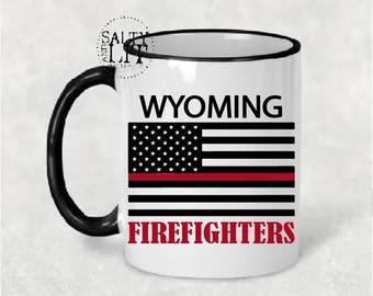 wyoming firefighter mug,fireman mug,wyoming mug,fireman gift,firefighter gift,first responder mug,mug,fireman coffee mug,gift for fireman