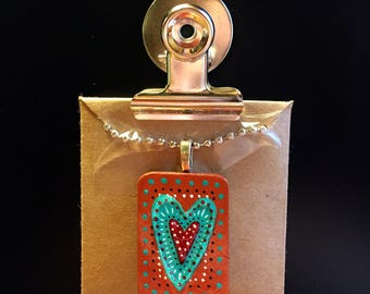 Teal Heart on Copper Pendant