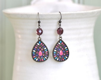 Purple Earrings- Pink Earrings- Teardrop Earrings- Pendant Earrings- Dangle Earrings- Boho Earrings- Boho Jewelry- Gift for Her