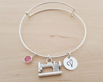 Sewing Bangle - Sewing Machine - Silver Adjustable Bangle  -  Personalized Initial Bracelet - Swarovski Crystal Birthstone Jewelry