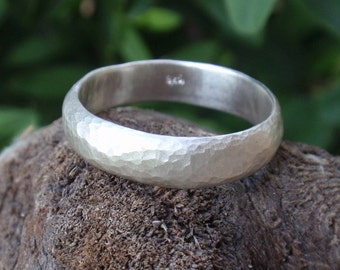 mens hammered wedding ring man wedding band ring 5mm wide mens ring sterling silver mens gifts recycled jewelry textured ring, sizes 3 to 16