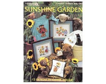 Sunshine Garden Cross Stitch Leaflet, Bears Cross Stitch, Sunflowers Cross Stitch, Animals Cross Stitch Pattern, by NewYorkTreasures Etsy