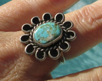 Turquoise and Sterling Silver Ring Size 7