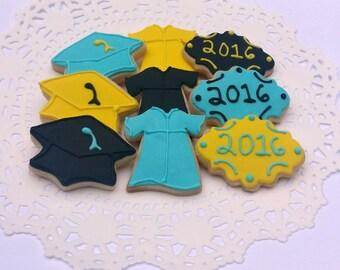 Mini Graduation Cookies - Cap and Gown Cookies - 3 Dozen Mini Cookies - Custom School Colors
