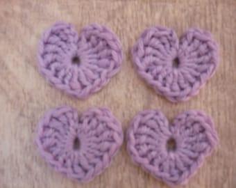 crochet hearts, set of 4 purple cotton