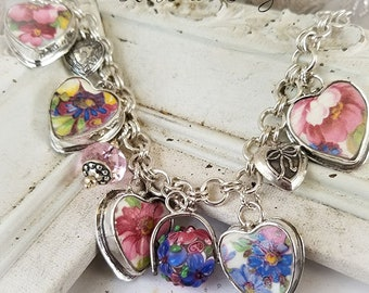 Vintage English James Kent Fenton Du Barry Floral Chintz Broken China Jewelry Heart Bracelet