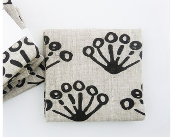 Linen Fat Quarter - Black Paw - hand printed by celina mancurti - Free Shipping to USA