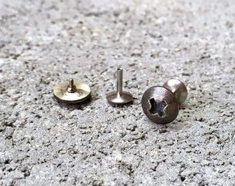 Flat Back Screw Earrings for Men / Women. Handmade Sterling Silver Phillips Screw Studs with 18g Steel Threaded Posts. Small Screw Oxidized.
