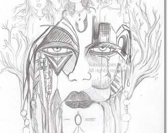 Pencil Drawing Surreal Dream Mindscape Original Art