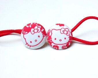 Handmade Kawaii White Red Japanese Cat Cats Animal Children Girl Fabric Button Ponytail Holder Elastic Hair Ties Girly Gifts