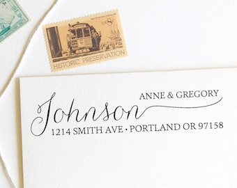 Return address stamp with hand drawn calligraphy last name, first and last names, self inking stamp, rubber stamp wood handle