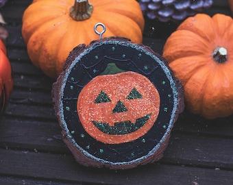 Glitter Pumpkin Halloween inspired wooden slice