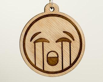 Loudly Crying Face Emoji Wooden Keychain - Sad Crying Emoji Carved Wood Key Ring - Crying Loudly Emoji