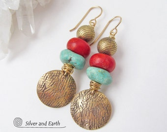 Red Coral & Turquoise Earrings, Colorful Boho Earrings, Brass Earrings, Gold Dangle, Bohemian Jewelry, Tribal Earrings, Turquoise Jewelry