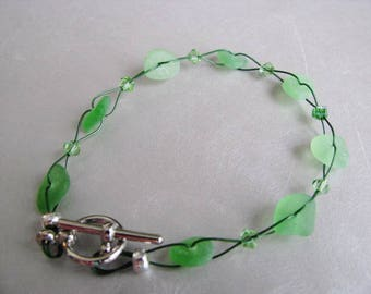 Sea Glass Bracelet - Beach Glass Bracelet - Kelly Green - Beach Glass Jewelry - Pure Sea Glass from Prince Edward Island -Ocean Jewelry Gift