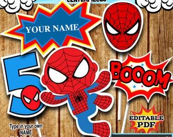 Superhero Centerpieces , Spidermann Centerpieces, Party Signs Instant Donwload, Party Printable, Photo Props RP-54