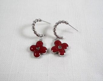 Burgundy Glitter Enamel Silver Tone Post Dangle Earrings