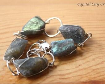Raw Labradorite Chunk Bracelet  Rustic Raw Gemstone Bracelet  Chunky Rough Labradorite Crystal Jewelry