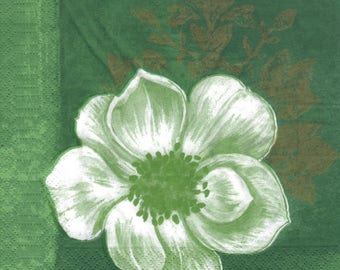 FLOWER green 1 towel size 33 X 33 lunch paper 255