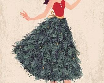 Christmas, Tree, Girl, Art Print