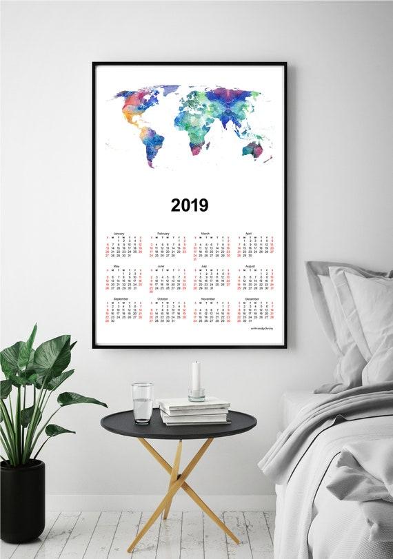 Wall calendar 2019 world map print wanderlust gift world map gumiabroncs Images