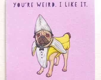 Weird Puggo Mini Greeting Card