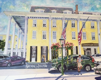 Cape May Congress Hall - Check In Day at Congress Hall Cape May New Jersey - Hand Signed Archival Watercolor Print Wall Art by Brenda Ann