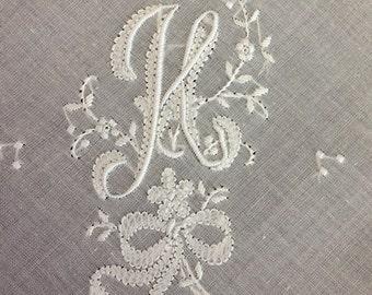 Elegant H Initial HAND Embroidered Hankie  MONOGRAMMED Vintage Handkerchief UNUSED Monogram