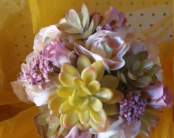 Delicate Pink Rose and Succulent Bouquet
