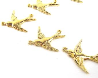 Tiny Swallow Charm, Gold Finish, 15 pcs